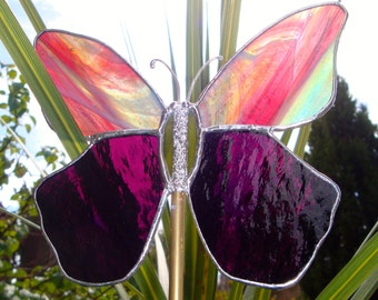 Handmade stained glass butterfly suncatcher garden stake