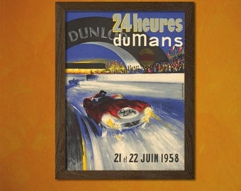 24 Hours Of Le Mans Car Race Poster 1958  - Retro Car Prints Vintage Car Poster Retro Home Decor Gift Idea  t