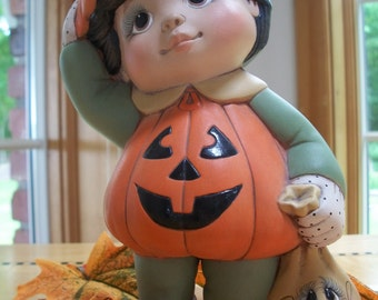 ceramic pumpkin boy tot trick or treater