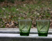 Vintage Tumbler Glasses, Tumbler Glasses, Green Glass, Shot Glass