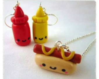 Polymer clay jewellery set Hotdog necklace and sauces earrings. fimo Kawaii Charm jewellery set Hotdog and sauce's. Fun hand made jewelry.