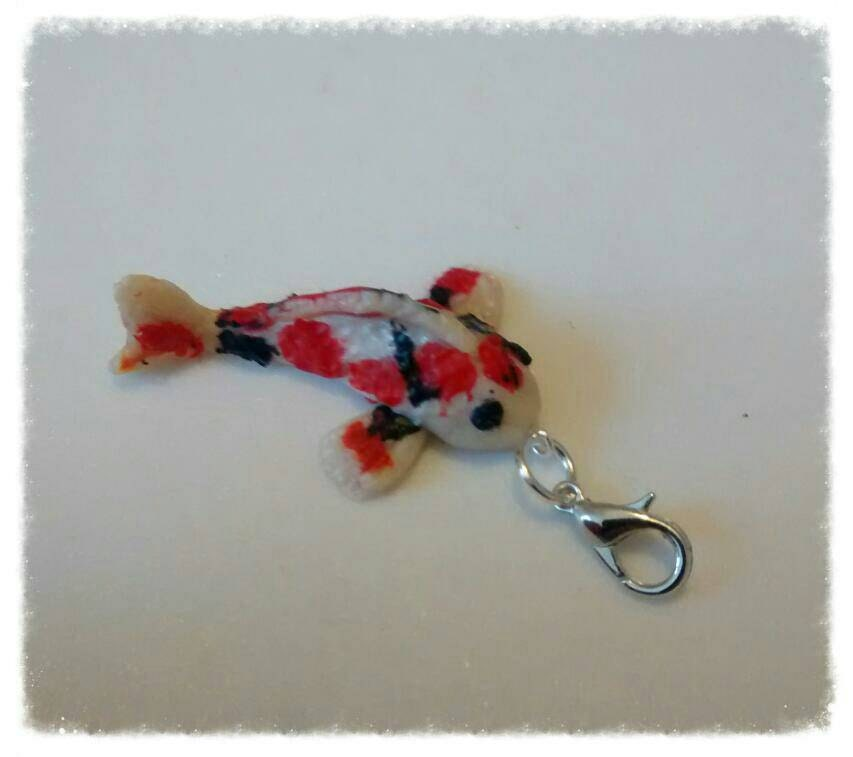 Ooak miniature polymer clay fish koi carp charm for bracelets for Clay koi fish