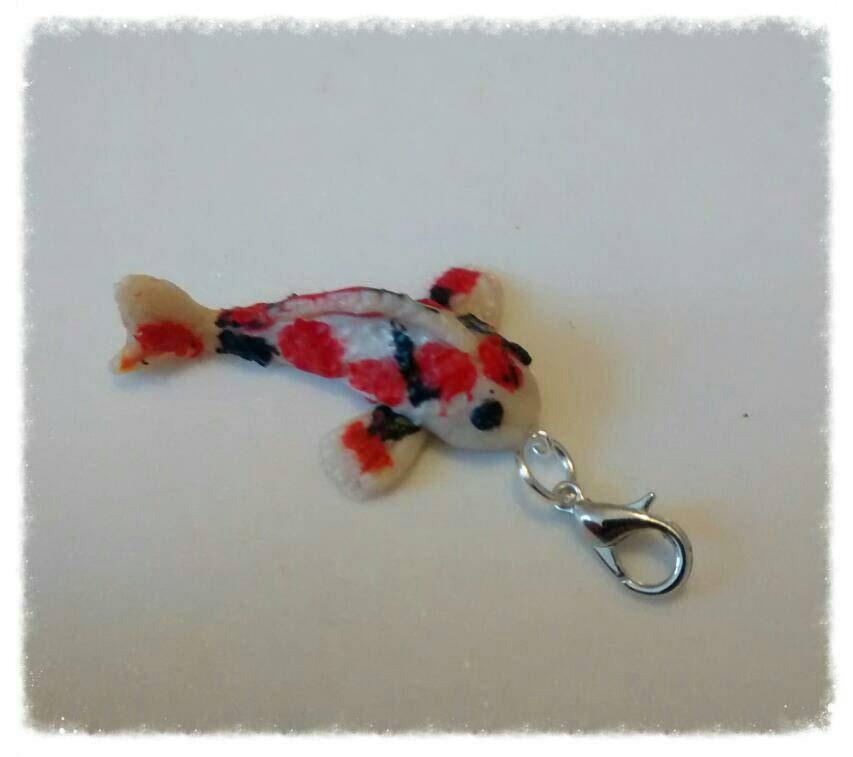 Ooak miniature polymer clay fish koi carp charm for bracelets for Miniature koi fish