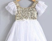 White Gold Sequined Tulle Dress, Glitter Dress, Tulle Dress, Party Dress, Tutu Dress