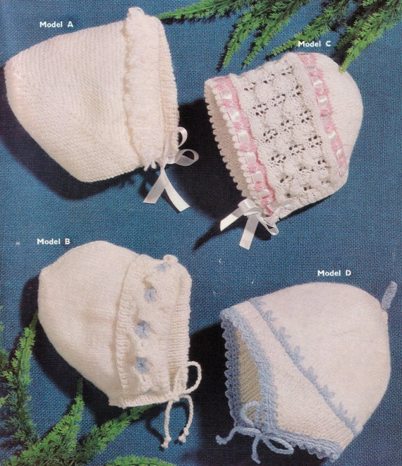 Vintage Knitting Patterns Baby Hats : Knit Baby Hats Vintage Knitting Pattern earflap bonnet helmet