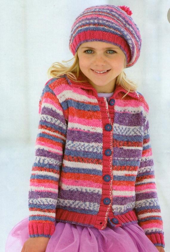 Knitting Pattern Child s Beret : Knit Child Cardigan and Beret Vintage Knitting Pattern 2-13
