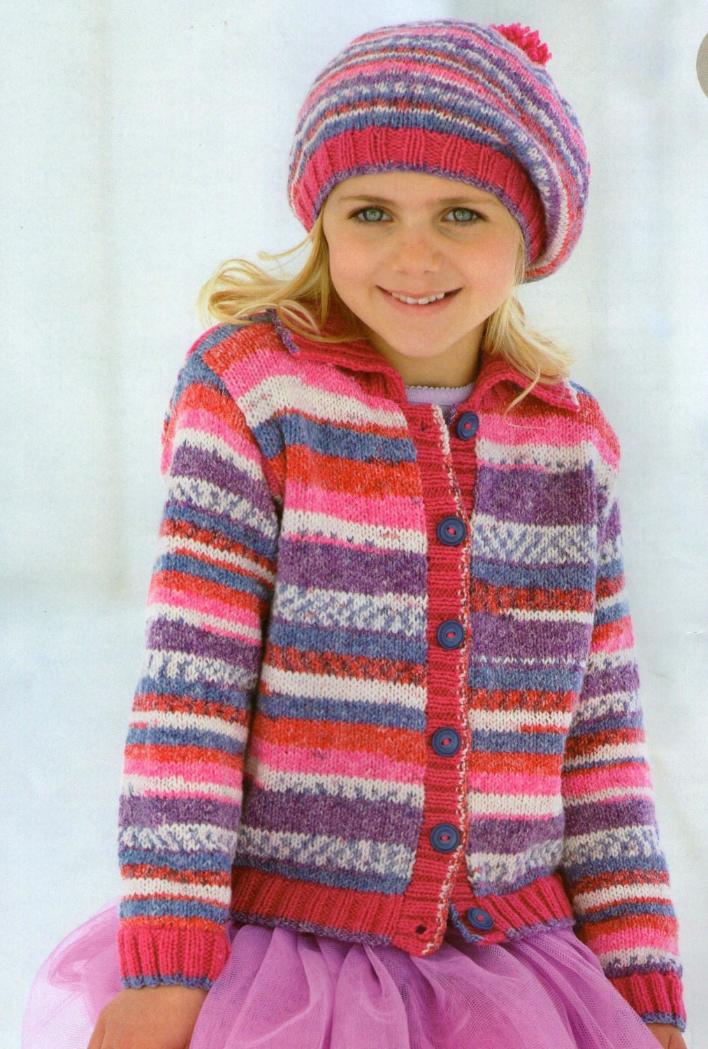 Knit Child Cardigan and Beret Vintage Knitting Pattern 2-13