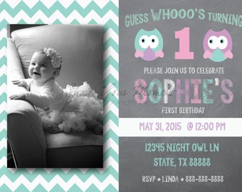 Owl Theme Birthday Invitation - Personalized and Editable First (or any age) Birthday Owl Invitation