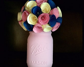 Rustic navy cream and blush paper rose flower bouquet in a hand painted mason jar