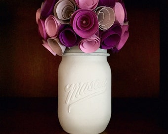 Rustic shades of purple and grey rose paper flower, in a hand painted mint mason jar!