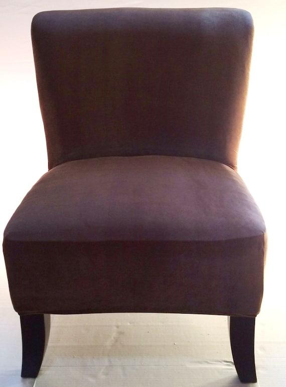 Slipcover Brown Stretch Velvet Chair Cover For Armless Chair Slipper Chair