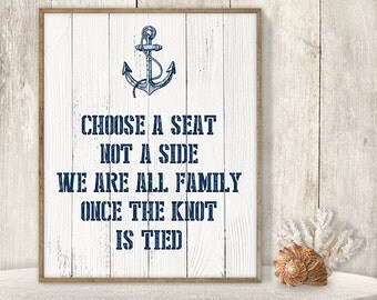 Choose A Seat Not A Side // Wedding Ceremony Seating Sign DIY // Nautical Sign, Anchor Printable PDF // Nautical Planks ▷ Instant Download