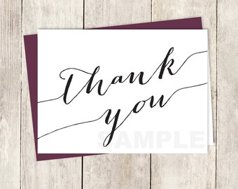 Formal Thank You Card DIY / Trendy Calligraphy Card / Black Lettering / Black and White / Wedding Thank You Printable PDF ▷ Instant Download