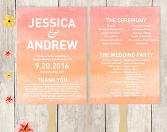 Wedding Program Fan DIY / Wedding Fan / Pink Ombre Watercolor, Coral Pink, Peach Blush Orange ▷ Printable {or} Printed *** ASSEMBLY REQUIRED