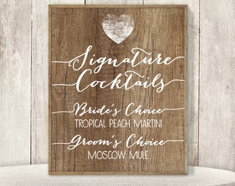Rustic Signature Cocktail Sign / His and Hers Drink / Rustic Wood Sign, White Calligraphy Sign ▷ Printable File {or} Printed & Shipped