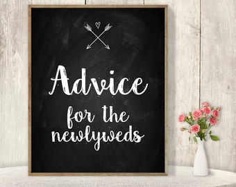 Advice For The Newlyweds Sign / Wedding Advice Sign DIY / Rustic Chalkboard Poster, Arrow, Heart, Chalk Lettering ▷ Instant Download