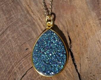 Druzy Necklace, Druzy Pendant, Gold Druzy Necklace, Gold Druzy Pendant, Silver Druzy Pendant, Silver Druzy Necklace, Druzy Layer Necklace