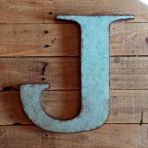Letter j 12 wood letter wall decor turquoise by for J letter decor