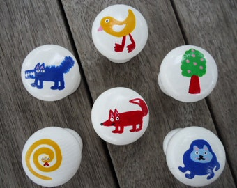 Handpainted Wooden Drawer Animal Knobs - Set of 6