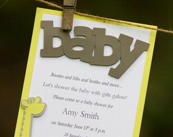 Baby Shower Giraffe, Gender Neutral, Boy, Girl, Laser Cut