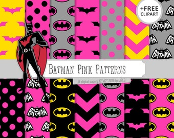 Buy 2 Get 1 Free! Digital Paper Batman Pink Patterns, Black, Gray and Yellow, chevron, polka dots, bat  for Label, seamless + clipart free