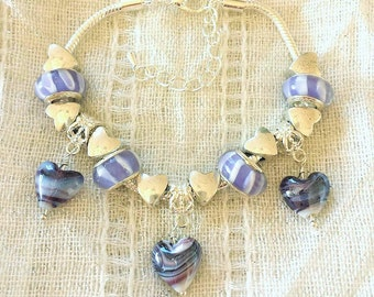 Purple Heart Glass Lampwork Charm Beads Silver Plated Bracelet 7-9 Inches Adjustable