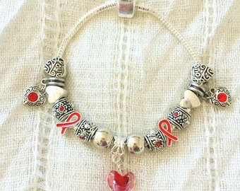 Red Ribbon Glass Antique Heart Charm Rhinestone Silver Plated Bracelet 7.5 Inches