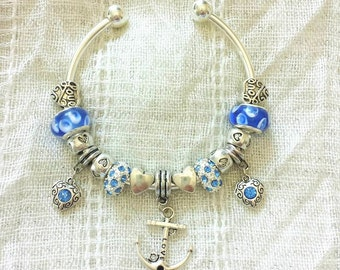 Anchor Charm Blue Rhinestone Lampwork Glass Beads Heart Love Silver Plated Bangle Bracelet 7.5 Inches