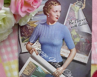 "Vintage Knitting Pattern Lady's ""Clever With Cables"" Jumper Amazing Stitchwork!!"