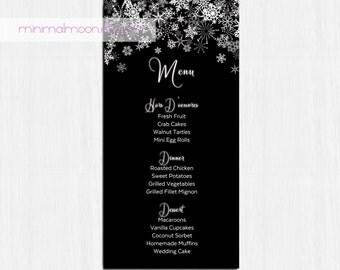 Printable Menu, Winter menu, wedding menu, snowflake menu, black wedding menu, printable wedding menu, blue menu, black menu, winter, silver