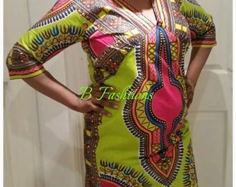 Lime Dashiki dress,  Size 14