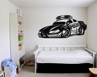 Wall Vinyl Sticker Decals Mural Room Design Art Decor  Police Car Speed Racing bo1698