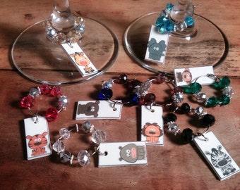 Wild Animals Set of 8 Wineglass Charms