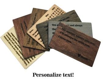 Wallet Insert Card, Wood Wallet Insert Card, Anniversary Gift,Custom Laser Engraved Wallet Insert,