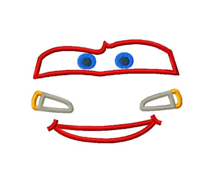 Character Inspired Face McQueen Embroidery Applique Design