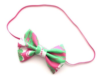 "Lilly Pulitzer ""FORGOT MY TRUNKS""  Hotty Pink and Green Elephant Bow or Headband, Lilly Pulitzer Headband, Lilly Pulitzer Fabric Bow"