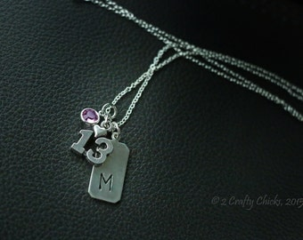 13th Birthday Gift - Personalized - Birth Stone Jewelry - Hand Stamped Necklace - Teen Gifts