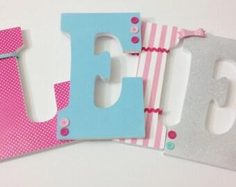 Custom Girl Nursery Letters, Wood Nursery Letters, Painted Letters, Nursery Decor, Hanging Nursery Letters