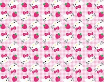 100% Cotton Hello Kitty Fabric with Strawberries on Pink Gingham Background Fat Quarter 18x22 inches