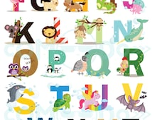 Animal Letters Clipart / Alphabet Digital Clip Art for Commercial and Personal Use / INSTANT DOWNLOAD