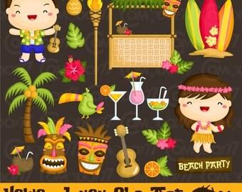 50%OFF!! Hawaii Luau Clipart - Cute Clipart, Hawaii Clipart, Fun Clipart, Clipart Set, Adorable Digital Clip Art
