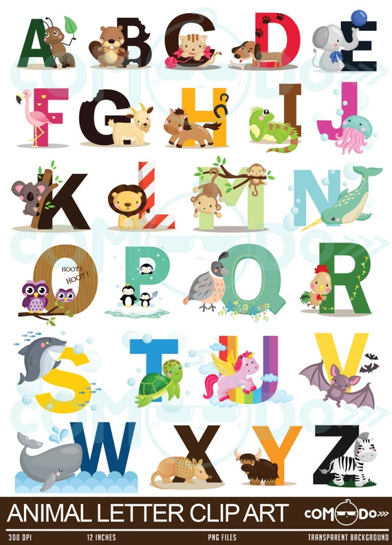50% OFF Animal Letters Clipart / Alphabet Digital by comodo777