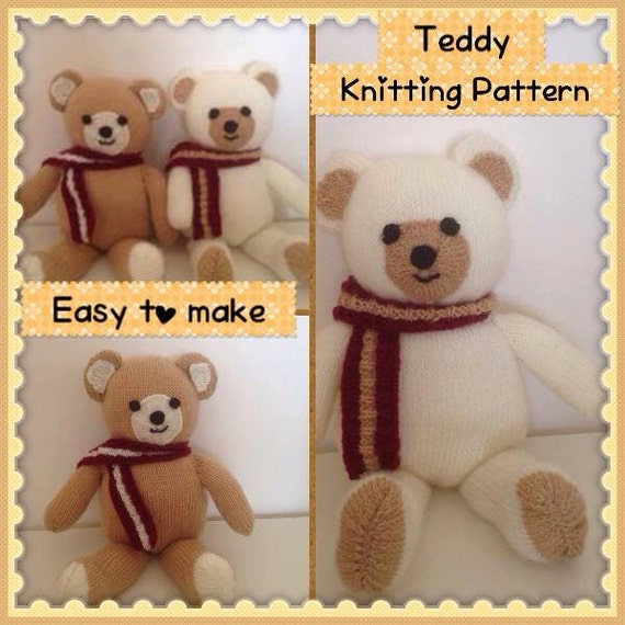 Teddy Bear Knitting Pattern Soft toy Knitting Pattern for beginners.Teddy toy...