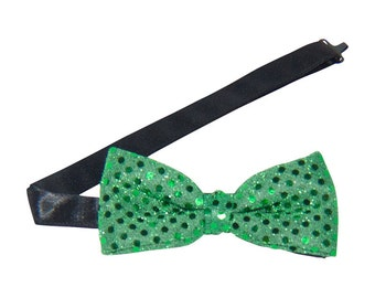 Emerald Green Sequin Banded Bow Tie