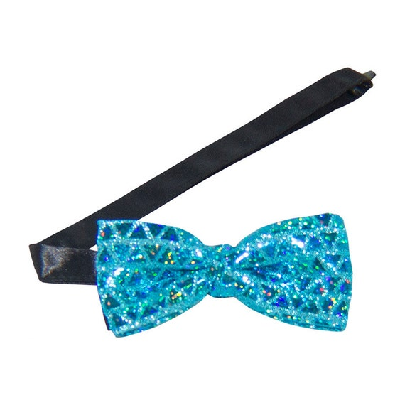 turquoise sequin banded bow tie