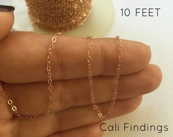 14K Rose Gold Fill Chain - 10 FEET - Flat Cable Chain 1.3mm Wholesale, Bulk, Findings, Supplies,  Rose Gold Chain, Gold Fill Chain, Chains