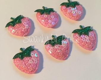 Light Pink Strawberry Padded Appliqués, Scrapbooking Supplies, Sequin Appliqués