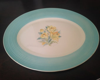 CLEARANCE Vintage Platter Triumph American Limoges Sweden Blue T Oval Yellow Roses Aqua Ridged Rim