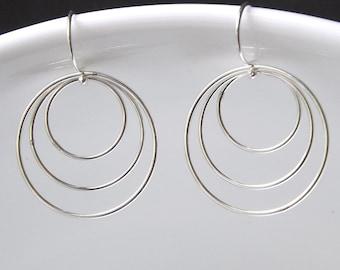 Sterling Silver Triple Hoop Earrings Wire Hoop Earring Everyday Womens Jewelry Eco Friendly