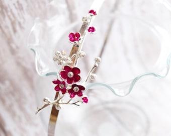 Marsala cherry blossom headband